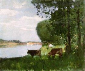Pierre-Eugene Montézin: Troupeau au bord de l'eau (Viehherde am Ufer), undatiert