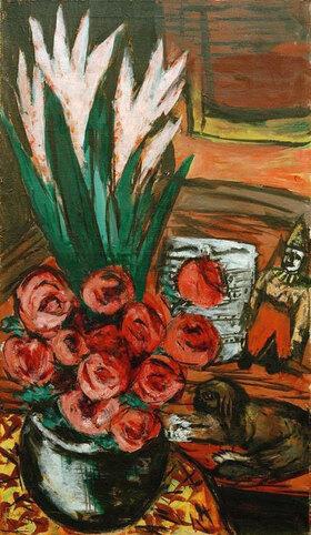Max Beckmann: Stillleben mit roten Rosen und Butchy