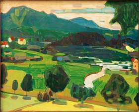 Wassily Kandinsky: Kandinsky, Wassily1866?1944.?Murnau-Blick über den Staffelsee?,Sommer 1908.Öl auf Pappe, 32,8 × 41 cm.Inv. Nr. MGS GMS