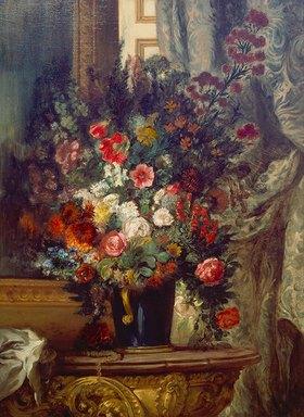 Eugene Delacroix: Vase mit Blumen auf einer Konsole