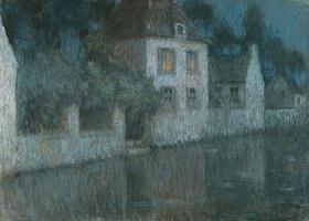 Henri Le Sidaner: Abendliche Häuser am Kanal (Nemours)