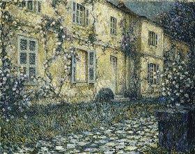 Henri Le Sidaner: Abendliches Landhaus mit Rosenranken