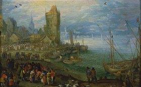 Jan Brueghel d.Ä.: Fischmarkt am Meeresstrand