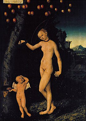 Lucas Cranach d.Ä.: Venus unter dem Apfelbaum, mit Amor als Honigdieb