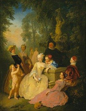 Christian Wilhelm Dietrich: Elegante Gesellschaft im Park eines Schlosses