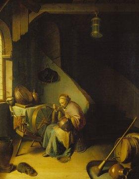 Gerrit (Gerard) Dou: Rembrandts Mutter am Spinnrad