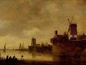 Jan van Goyen: Flusslandschaft mit Windmühle