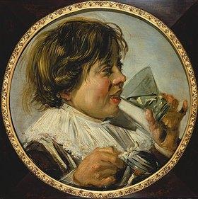 Frans Hals: Brustbild eines lachenden Knaben mit einem Weinglas (Der Geschmack)