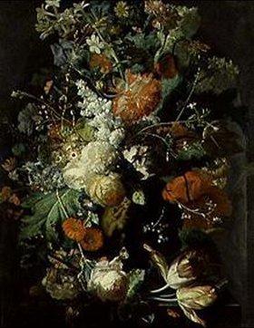 Jan van Huysum: Blumenstilleben, das die Darstellung von zwei Putten umgibt