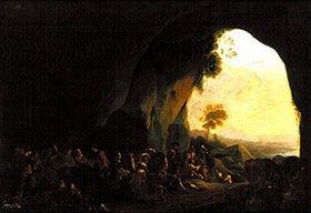 Pieter van Laer: Italienische Landleute bei Tanz und Spiel in einer Grotte