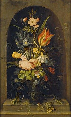 Roelant Jakobsz Savery: Blumenstilleben in einer Nische