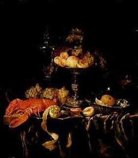 Abraham van Beyeren: Stilleben mit Früchten und Hummer