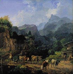 Heinrich Bürkel: Morgen in einem Tiroler Dorf