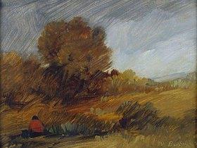 Wilhelm Busch: Herbstliche Landschaft mit roter Figur
