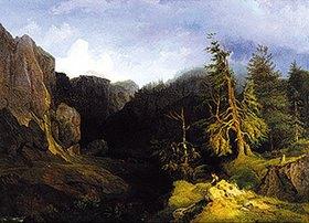 Heinrich Heinlein: Gebirgslandschaft aus Graubünden