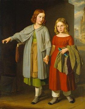 Gustav Adolph Hennig: Die Töchter des Malers auf dem Schulweg