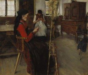 Wilhelm Leibl: Die Spinnerin
