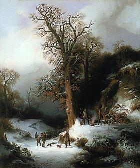 Wilhelm Lichtenheld: Jagdszene in einer Winterlandschaft