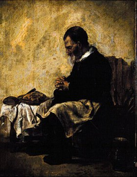Holländischer Meister: Ein Mann beim Tischgebet