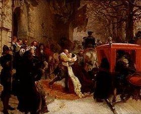 Adolph von Menzel: Gustav Adolf empfängt seine Gemahlin vor dem Schloss zu Hanau im Januar