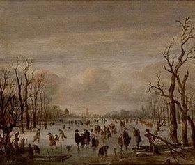 Aert van der Neer: Winterlandschaft mit Schlittschuhläufern