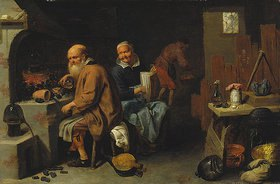 David Ryckaert III.: Alchimist mit seiner Frau in der Werkstatt