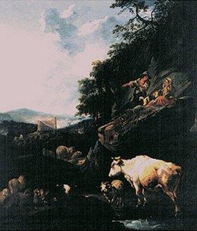 Johann Heinrich Roos: Landschaft mit Hirten und Vieh
