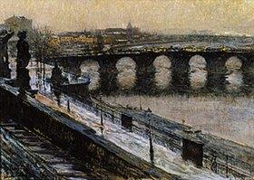 Gotthard Kuehl: Die Augustusbrücke in Dresden im Winter
