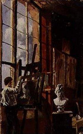 Max Klinger: Maler im Atelier in Karlsruhe, die Büste der kapitolinischen Venus malend
