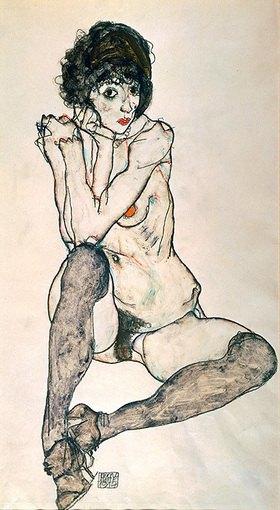 Egon Schiele: Sitzender Mädchenakt