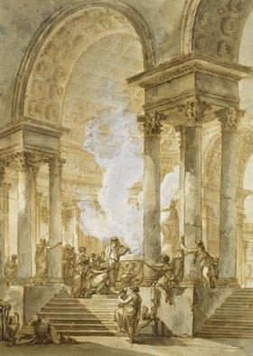 Giuseppe (Joseph) Quaglio: Das Opfer im Tempel