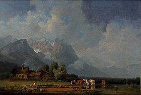 Heinrich Bürkel: Fischerdorf im Bayerischen Oberland