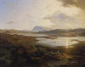 Carl Rottmann: Der Kopais-See in Böotien mit dem Parnass