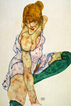 Egon Schiele: Blondes Mädchen mit grünen Strümpfen
