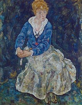 Egon Schiele: Bildnis der Frau des Künstlers, sitzend. 1918.