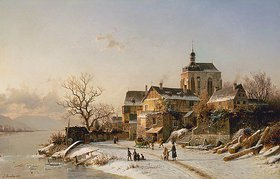 Johannes B Duntze: Winterlandschaft bei Oberwesel