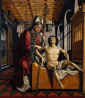 Michael Pacher: Kirchenväter-Altar, li.Flügel außen: Augustinus befreit einen Gefangenen