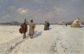 Hugo Mühlig: Heimkehrende Musikanten im Winter