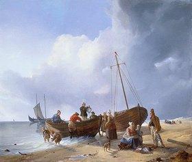 Carl Friedrich Schulz: Fischer am Strand
