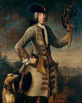 Deutsch: Kurfürst Karl Albrecht (Albrecht VII) mit Jagfalken und einem Greyhound