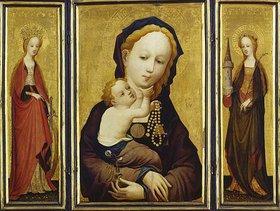 Meister der hl.Veronika: Triptychon, Muttergottes mit der Wickenblüte, mit den hll.Katharina und Barbara
