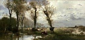 Joseph Wenglein: Landschaft mit Viehherde