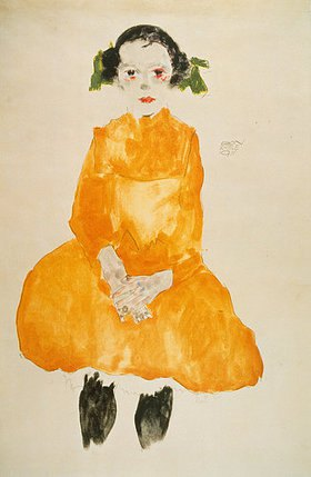 Egon Schiele: Kleines Mädchen in gelbem Kleid mit schwarzen Strümpfen