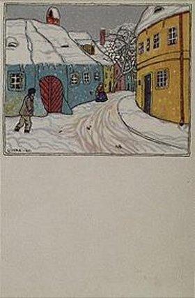 Carl Krenek: Wiener Vorortgasse im Winter. Karte der Wiener Werkstätten, No