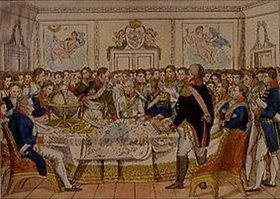 Anonym: Wiener Friedenskongress 1831 mit den Fürsten Europas (Mitte: Die Kaiser Franz
