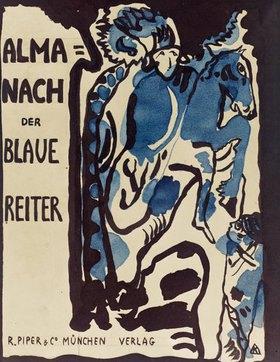 Wassily Kandinsky: Endgültiger Entwurf für den Umschlag des Almanachs Der blaue Reiter