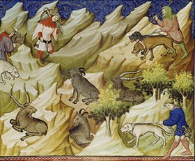Handschrift: Miniatur aus Le Livre de la Chasse des Gaston Phébus Comte de Foix (1331-91)