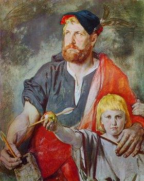 Ernst Stückelberg: Wilhelm Tell (Farbskizze für die Fresken der Tellskapelle am Vierwaldstättersee)