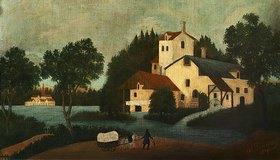 Henri Rousseau: Landschaft mit Wassermühle und Wagen