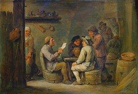 David Teniers: Gruppe im Wirtshaus mit Lesendem